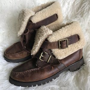 a55a3715b4 Lauren Ralph Lauren. Ralph Lauren shearling brown leather Zacha boots